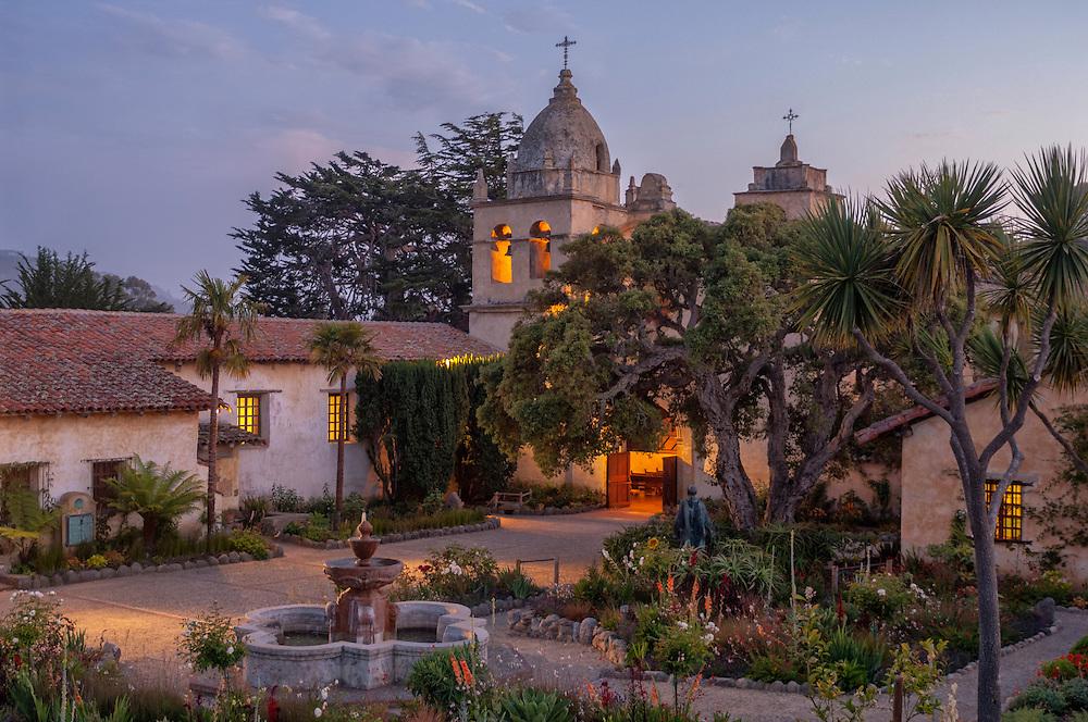 USA, California, Coast, Monterey Peninsula,Mission San Carlos Borromeo del río Carmelo, also known as the Carmel Mission or Mission Carmel, is a Roman Catholic mission church in Carmel-by-the-Sea, California