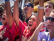 16 SEPTEMBER 2012 - PHOENIX, AZ:  Lucha Libre wrestling fans cheer during a Lucha Libre exhibition match on Hispanic Heritage Day in Phoenix. The Arizona Diamondbacks hosted their 14th Annual Hispanic Heritage Day, Sunday to kick off Hispanic Heritage Month (Sept. 15-Oct. 15) before the 1:10 p.m. game between the D-backs and San Francisco Giants. The main attraction of the Day was three Lucha Libre USA exhibition wrestling matches in front of Chase Field stadium before the game.    PHOTO BY JACK KURTZ