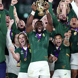 General views of the South African players lifting the rugby world cup during the Rugby World Cup Final match between South Africa Springboks and England Rugby World Cup Final at the International Stadium Yokohama  Japan.Saturday 02 November 2019. (Mandatory Byline -Steve Haag Sports Hollywoodbets)