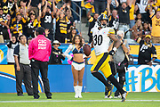 Pittsburgh Steelers running back James Conner (30) runs the ball for a touchdown during an NFL football game against the Los Angeles Chargers. The Steelers defeated the Chargers 24-17 on Sunday, Oct. 13, 2019, in Carson, Calif. (Ed Ruvalcaba/Image of Sport)