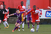 Jack Munns and Ian Gayle during the Vanarama National League match between Welling United and Cheltenham Town at Park View Road, Welling, United Kingdom on 5 March 2016. Photo by Antony Thompson.