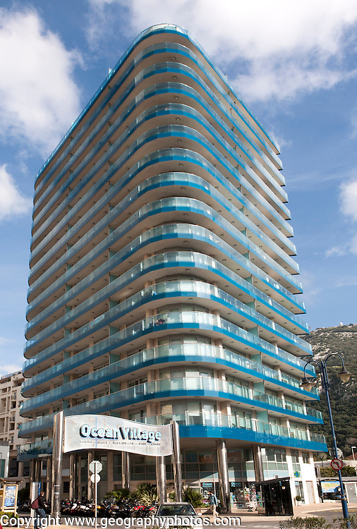 Ocean Village apartment block, Gibraltar, British overseas territory in southern Europe