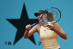May 9, 2018 - Madrid, Madrid, Spain - Maria Sharapova of Russia in action in her match against Kristina Mladenovic of France during day five of the Mutua Madrid Open tennis tournament at the Caja Magica on May 9, 2018 in Madrid, Spain  (Credit Image: © David Aliaga/NurPhoto via ZUMA Press)