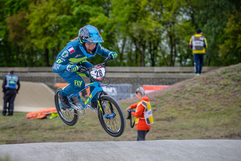#28 (DOUDOUX Mathilde) FRA during practice at Round 3 of the 2019 UCI BMX Supercross World Cup in Papendal, The Netherlands