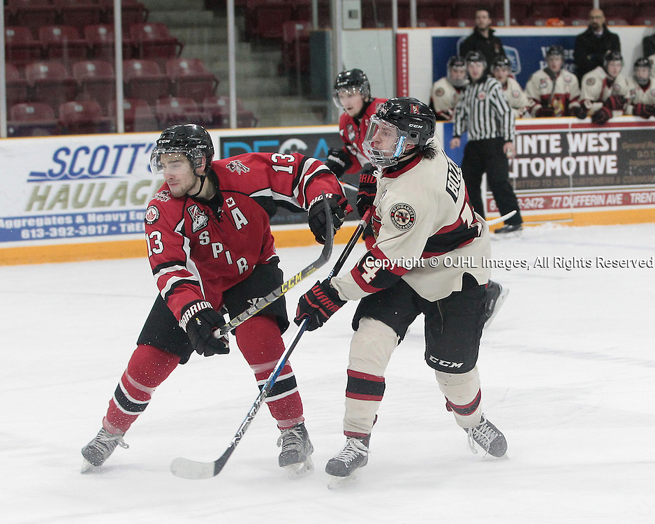 TRENTON, ON  - JAN 23,  2017: Ontario Junior Hockey League game between the Stuoffville Spirit and the Newmarket Hurricanes at the 2017 Winter Showcase. Max Novick #13 of the Stouffville Spirit battles for position with<br /> Marco Bozzo #14 of the Newmarket Hurricanes .<br /> (Photo by Tim Bates / OJHL Images)