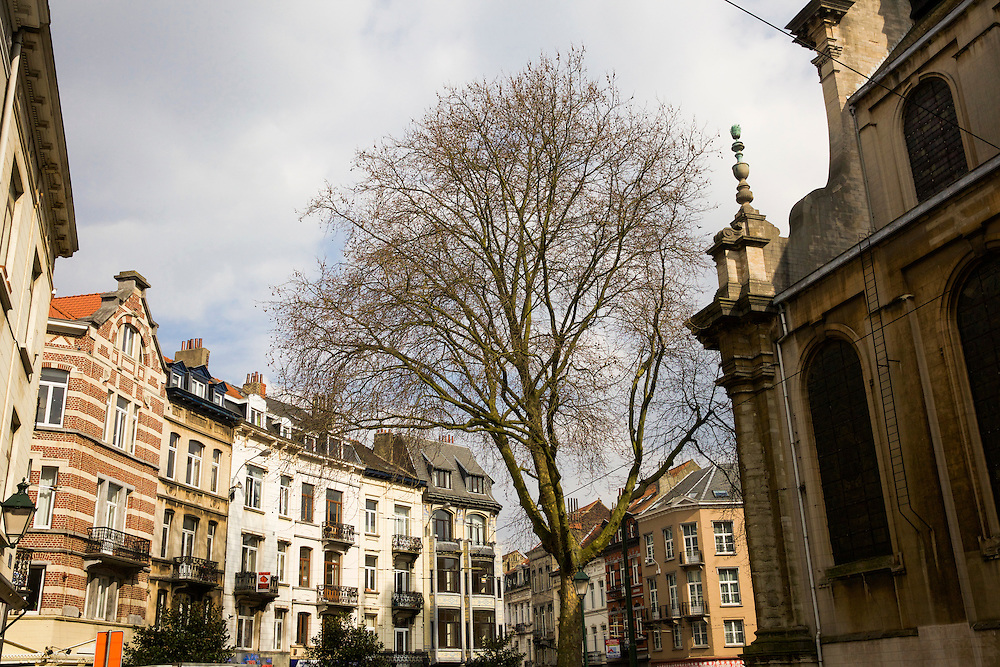 Traditional architecture in the Ixelles Elsene, in Brussels, Belgium.