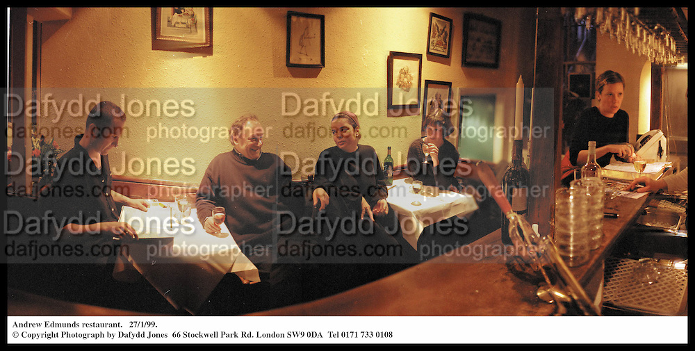 Interior of Andrew Edmunds restaurant. Lexington St. London.  27/1/99. <br /> © Copyright Photograph by Dafydd Jones  66 Stockwell Park Rd. London SW9 0DA  Tel 0171 733 0108