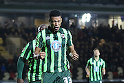 Lyle Taylor of AFC Wimbledon equalises for AFC Wimbledon during the Sky Bet League 2 match between Newport County and AFC Wimbledon at Rodney Parade, Newport, Wales on 19 December 2015. Photo by Stuart Butcher.