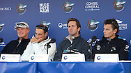 FRANCE, Nice, 17th November 2009, Louis Vuitton Trophy, Day 11, L-R, Karol  Jablonski, Synergy, Francesco Bruni, Azzurra, Ben Ainslie,TEAMORIGIN, and Dean Barker, Emirates Team New Zealand at the Louis Vuitton press conference.