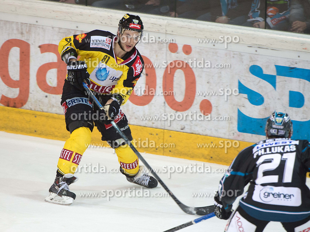 26.03.2015, Keine Sorgen Eisarena, Linz, AUT, EBEL, EHC Black Wings Linz vs UPC Vienna Capitals, 64. Runde, Halbfinale, 3. Spiel, im Bild v.l. Kristopher Foucault (UPC Vienna Capitals) Philipp Lukas (EHC Liwest Black Wings Linz) // during the Erste Bank Icehockey League 64th round 3rd semifinal match between EHC Black Wings Linz and UPC Vienna Capitals at the Keine Sorgen Eisarena in Linz, Austria on 2015/03/26. EXPA Pictures © 2015, PhotoCredit: EXPA/ Reinhard Eisenbauer