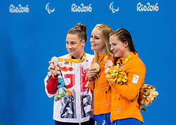 Second placed Harriet Lee of Great Britain, Winner Lisa Kruger of Netherlands and third placed Chantalle Zijderveld of Netherlands celebrate at medal ceremony after the Women's 100m Breaststroke SB9 Final on day 1 during the Rio 2016 Summer Paralympics Games on September 8, 2016 in Olympic Aquatics Stadium, Rio de Janeiro, Brazil. Photo by Vid Ponikvar / Sportida