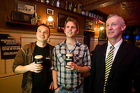 Pictured enjoying a premiere of the new Guinness advertisement, This is Rugby Country, which aired at an special viewing at O'Connell's Bar Eyre Sq. Galway, are Paul Lundy and Patrick Dwar from Newcastle , Galway with Des Roche, Diageo. Guinness enjoys a long standing relationship with Irish rugby and has been a partner of the IRFU for over 20 years. The new advertisement features real people - not actors or models - and this is one of the key ingredients to the campaign.. Photo:Andrew Downes.
