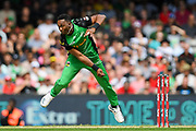 17th February 2019, Marvel Stadium, Melbourne, Australia; Australian Big Bash Cricket League Final, Melbourne Renegades versus Melbourne Stars; Dwayne Bravo of the Melbourne Stars bowls