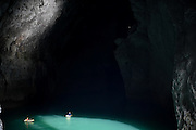 ZIYUN, April 15, 2016 <br /> <br /> Expedition members row into the Miao Room Chamber, China's largest cave chamber by volume, in Ziyun County of southwest China's Guizhou Province, April 15, 2016. In 2014, National Geographic announced Miao Room Chamber, with a volume of some 19.78 million cubic meters, as the world's largest cave chamber. A joint caving expedition code-named ''Pearl'' by explorers and scientists from China and France kicked off here on April 11. During the 19-day exploration, they will conduct comprehensive investigation on famous caves in Guizhou including the Miao Room Chamber and Shuanghe Cave in Suiyang. <br /> ©Exclusivepix Media
