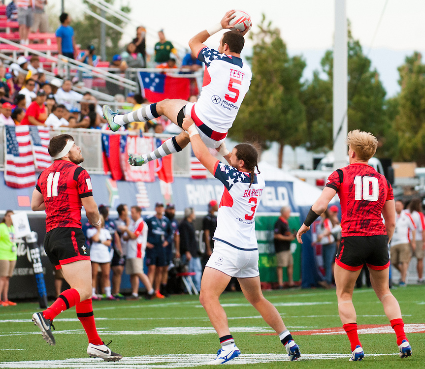 Zach Test of the United States wins the ball in a line out during the pool stage of the 2016 USA Sevens leg of the HSBC Sevens World Series at Sam Boyd Stadium  Las Vegas, Nevada. March 4, 2016.<br /> <br /> Jack Megaw for USA Sevens.<br /> <br /> www.jackmegaw.com<br /> <br /> 610.764.3094<br /> jack@jackmegaw.com