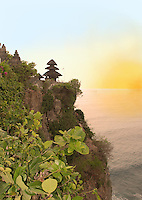 Gorgeous sunset at the cliffs of Ulawati, Bali, Indonesia.