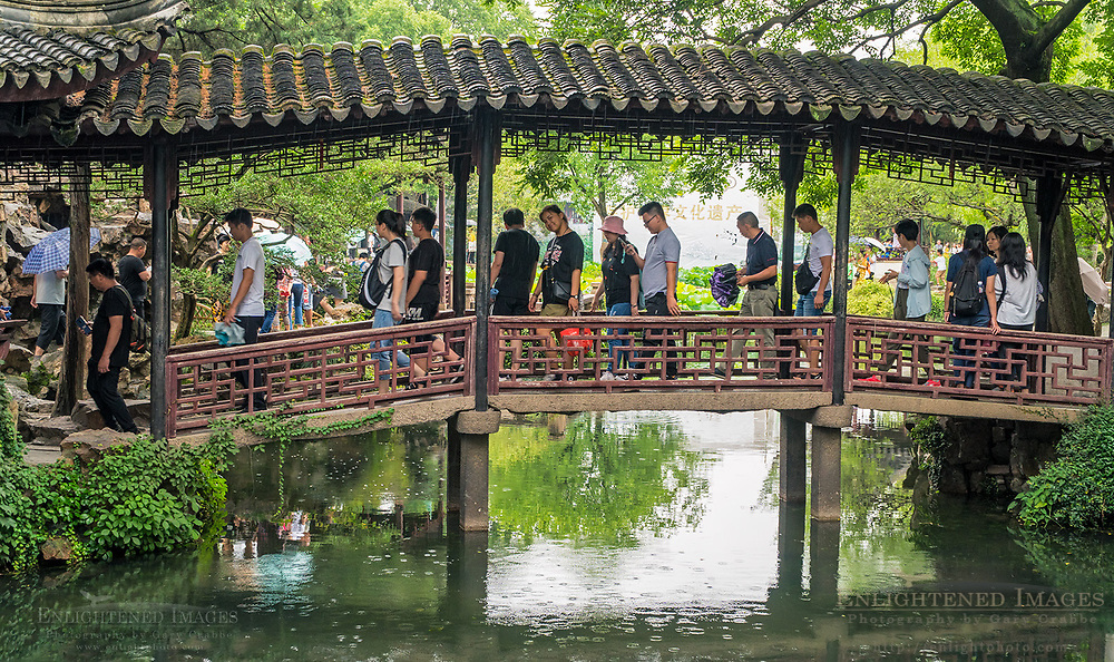 Visitors in The Humble Administrator Garden, a UNESCO World Heritage Site, Suzhou, jiangsu Province, China