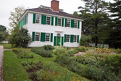 Gardens line the side of the Salem Towne house, Old Sturbridge Village (OSV), a re-created New England town of the 1830s, is a living history museum in Sturbridge, Massachusetts.  OSV, the largest living museum in New England, stands on 200 acres on farm land that once belonged to David Wight.