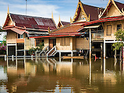 30 SEPTEMBER 2016 - SAI NOI, AYUTTHAYA, THAILAND:  The monks' quarters at the flooded Wat Boonkannawas in Sai Noi. The Chao Phraya River, the largest river that runs through central Thailand, has hit flood stage in several areas in Ayutthaya and Ang Thong provinces. Villages along the river are flooded and farms are losing their crops due to the flood. This is the same area that was devastated by floods in 2011, but the floods this year are not expected to be as severe. The floods are being fed by water released from upstream dams. The water is being released to make room for heavy rains expected in October.     PHOTO BY JACK KURTZ