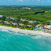 Aerial view of the Rosewood Mayakoba hotel on the Riviera Maya. Mexico