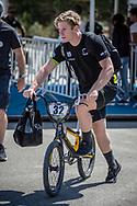 Men Elite #32 (ROSA Shane) AUS arriving on race day at the 2018 UCI BMX World Championships in Baku, Azerbaijan.