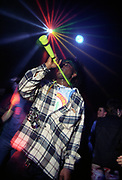 Man blowing a trumpet at a rave, One Nation, Adrenalin Villsge, 15th Feb 1997