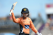 Tammy Beaumont of Southern Vipers raises her bat as he walks off after being dismissed for 64 during the Women's Cricket Super League match between Southern Vipers and Yorkshire Diamonds at the Ageas Bowl, Southampton, United Kingdom on 8 August 2018.