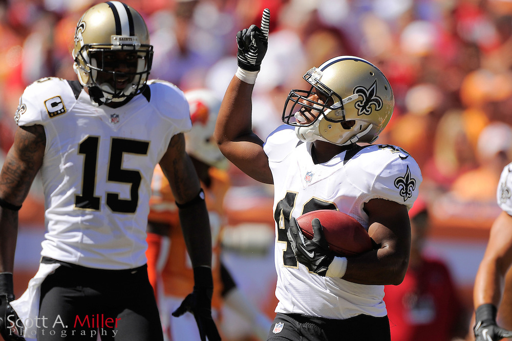 New Orleans Saints running back Darren Sproles (43) celebrates scoring a touchdown during the Saints 35-28 win over the Tampa Bay Buccaneers at Raymond James Stadium  on Oct. 21, 2012 in Tampa, Florida. ..©2012 Scott A. Miller...
