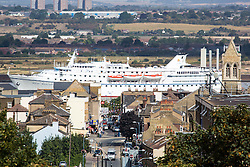 © Licensed to London News Pictures. 01/09/2016. A cruise ship sails past Gravesend in Kent on 1st September - the first day of Meteorological autumn.  Ocean Majesty is photographed passing Gravesend, which last month recorded the highest temperature of anywhere in the country this year, en route to London where she will be moor alongside HMS Belfast. Credit : Rob Powell/LNP