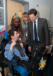 © Licensed to London News Pictures.  11/12/2014. Taunton, Somerset, UK.  Deputy Prime Minister Nick Clegg meets Josef (correct) Tucker age 23, a student on the supported internship programme, at Somerset College to see its apprenticeship programme in action. it was announced earlier this week that the Liberal Democrats have fulfilled their commitment to starting 2 million apprenticeships this parliament.  Photo credit : Simon Chapman/LNP