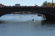 Boston, USA, Master Men's Singles, passing under, Eliot Bridge and Cambridge Boat Club, at the Head of the Charles Race, Charles River, Cambridge,  Massachusetts. Saturday  21/10/2007 [Mandatory Credit Peter Spurrier/Intersport Images]..... , Rowing Course; Charles River. Boston. USA