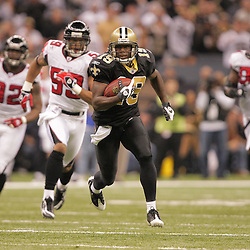 2008 December, 07: New Orleans Saints wide receiver Devery Henderson (19) breaks away from the Falcons defense on a catch and run during a 29-25 victory by the New Orleans Saints over NFC South divisional rivals the Atlanta Falcons at the Louisiana Superdome in New Orleans, LA.