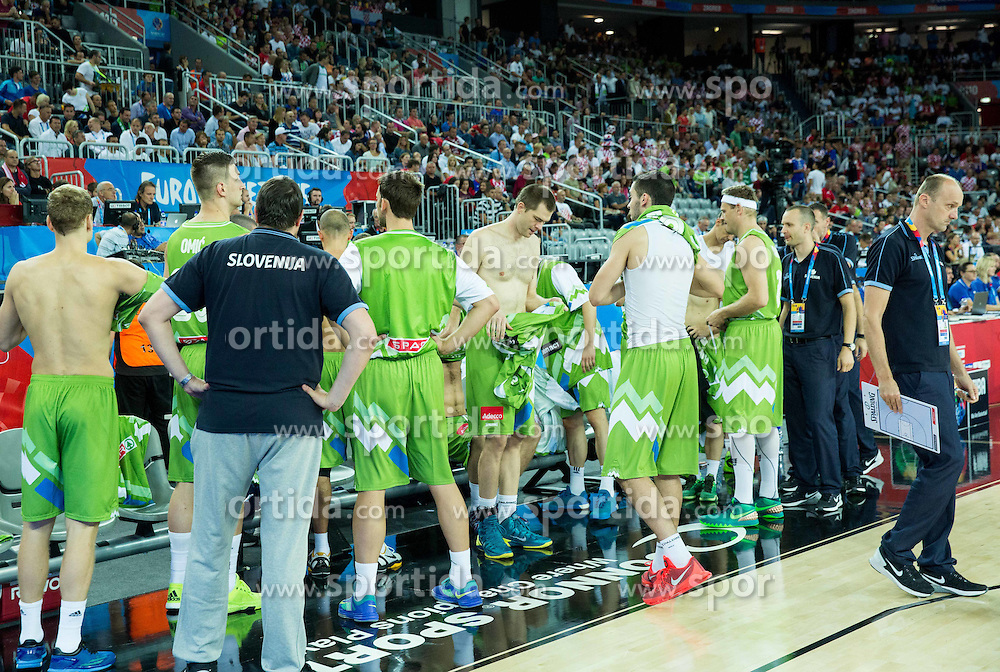 Players of Slovenia changing jerseys during basketball match between Croatia and Slovenia at Day 1 in Group C of FIBA Europe Eurobasket 2015, on September 5, 2015, in Arena Zagreb, Croatia. Photo by Vid Ponikvar / Sportida