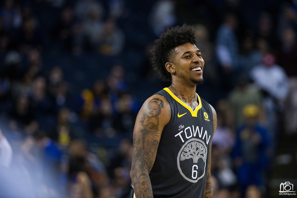 Golden State Warriors guard Nick Young (6) smiles during a game against the Dallas Mavericks at Oracle Arena in Oakland, California, on February 8, 2018. (Stan Olszewski/Special to S.F. Examiner)