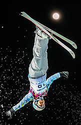 Zhanbota Aldabergenova of Kazakhstan in action during the Women's Aerials at the Sochi 2014 Olympic Games, Krasnaya Polyana, Russia, 14 February 2014.