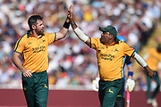 Dan Christian and Samit Patel of Notts Outlaws celebrate the wicket of Ben Cox during the Vitality T20 Finals Day 2019 match between Notts Outlaws and Worcestershire Rapids at Edgbaston, Birmingham, United Kingdom on 21 September 2019.