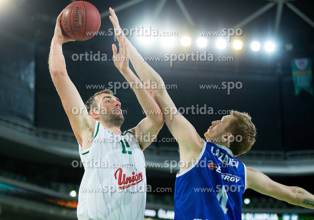 Mirza Begic #15 of KK Union Olimpija vs Ivan Lazarev of Zenit during basketball match between KK Union Olimpija (SLO) and Zenit St. Petersburg (RUS) in 4th Round of EuroCup 2014/15, on November 4, 2014 in Arena Stozice, Ljubljana, Slovenia. Photo by Vid Ponikvar / Sportida