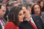 King Felipe VI of Spain, Queen Letizia of Spain attend National Sport Awards 2017 at El Pardo Royal Palace on January 10, 2019 in Madrid, Spain