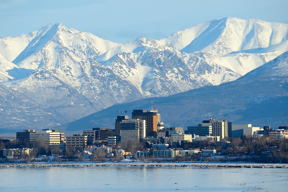 Skylin of the city of Anchorage with Chugach Mountains in the back, Alaska,USA