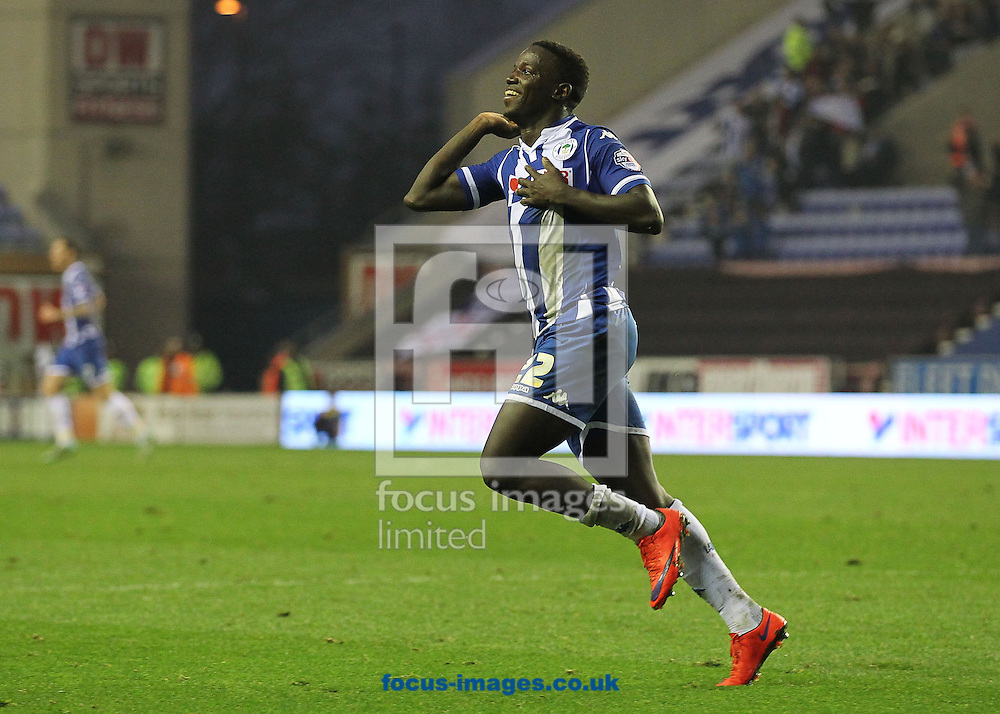 Francisco Junior of Wigan Athletic celebrates scoring the winning goal against Swindon Town during the Sky Bet League 1 match at the DW Stadium, Wigan.<br /> Picture by Michael Sedgwick/Focus Images Ltd +44 7900 363072<br /> 31/10/2015