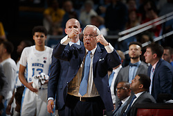 CHAPEL HILL, NC - JANUARY 27: Head coach Roy Williams of the North Carolina Tar Heels coaches against the North Carolina State Wolfpack on January 27, 2018 at the Dean Smith Center in Chapel Hill, North Carolina. North Carolina lost 95-91. (Photo by Peyton Williams/UNC/Getty Images) *** Local Caption *** Roy Williams