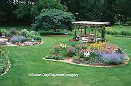 63821-15016 Landscape with island flower beds, deck, bird bath, blue bench, Marion Co. IL
