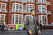 Hours after the Wikileaks co-founder Julian Assange was forcibly removed from the Ecuadorian embassy by British police, after his 7-year occupancy, a CBS reporter prepares for broadcast opposite the embassy, on 11th April 2019, in London England.