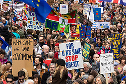 "© Licensed to London News Pictures. 23/03/2019. London, UK. Hundreds of thousands of people march through central London to demand that government allow a ""People's Vote"" on the Brexit deal. Several key votes will be held in Parliament in the coming week. Photo credit: Rob Pinney/LNP"