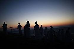 June 4, 2017 - Nablus, Palestine - Members of the Samaritan sect take part in a traditional pilgrimage marking the holiday of Shavuot, atop Mount Gerizim near the West Bank city of Nablus early June 4, 2017. (Credit Image: © Ahmad Talat/NurPhoto via ZUMA Press)