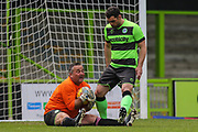 Forest Green Legends goalkeeper Steve Perrin  makes a save during the Trevor Horsley Memorial Match held at the New Lawn, Forest Green, United Kingdom on 19 May 2019.