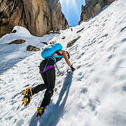 Noelle Synder climbing Mount Heyburn in the Sawtooth Mountain Range