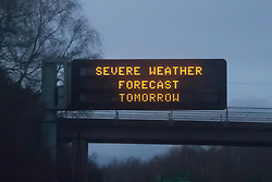 © Licensed to London News Pictures. 22/02/2016. Tamworth, North Warwickshire, UK. Severe weather warning sign on the M42 motorway between Birmingham and Nottingham.  Photo credit: Dave Warren/LNP