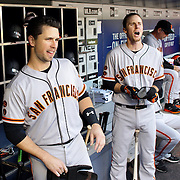 NEW YORK, NEW YORK - APRIL 30:  Buster Posey #28, (left) and Matt Duffy #5 of the San Francisco Giants in the dugout preparing to bat during the New York Mets Vs San Francisco Giants MLB regular season game at Citi Field on April 30, 2016 in New York City. (Photo by Tim Clayton/Corbis via Getty Images)