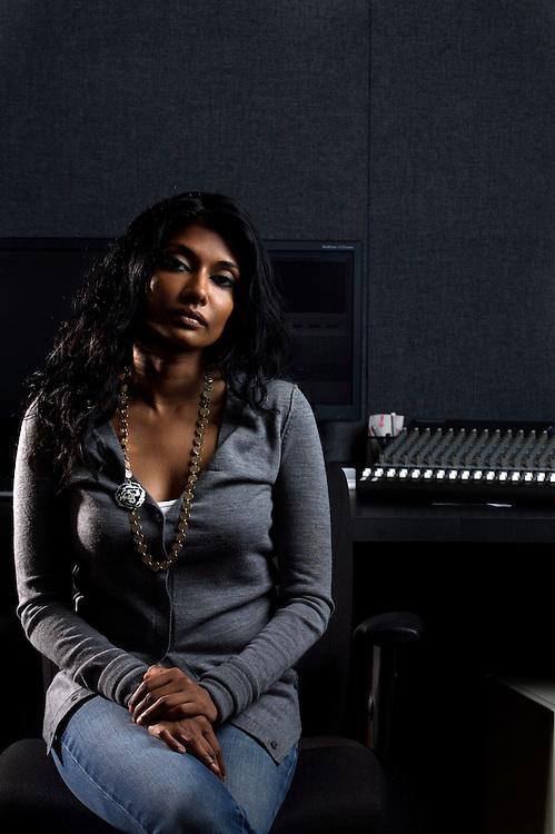 8/12/08 9:24:08 AM -- Washington, DC, U.S.A..Documentary filmmaker Roshini Thinakaran, in her editing suite in Washington, DC on Tuesday, Aug. 12, 2008...Photo by Jay Westcott, Freelance.